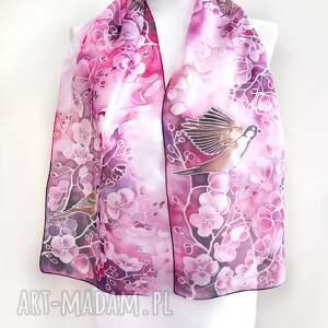 malowane apaszki szalik jedwabny wróble i wiśnie