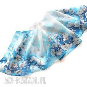 ciekawe chustki i apaszki jedwabny-szal szalik z jedwabiu niebieski ręcznie