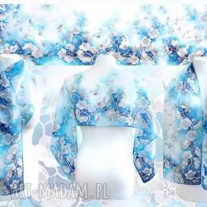 ciekawe chustki i apaszki sakura szalik z jedwabiu niebieski ręcznie