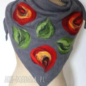 chustki i apaszki ludowa szara chusta handmade wełniana