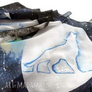 wilk chustki i apaszki niebieskie i fazy księżyca - ręcznie