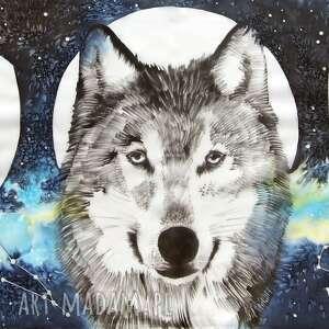 chustki i apaszki szal z-gwiazdami wilk i fazy księżyca - ręcznie
