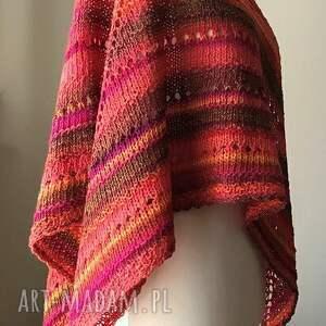 różowe chustki i apaszki rękodzieło zachód słońca chusta