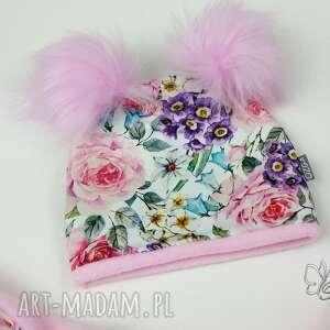 różowe chustki i apaszki czapka zestaw zmowy czapka, chusta