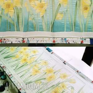 MinkuLUL wyjątkowe chustki i apaszki apaszka w kwiaty żonkile na jedwabnym szalu ręcznie