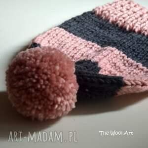 różowe czapka pink-gray