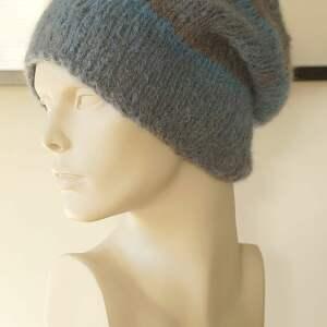 czapki: Alpakowa czapka niebieska - handmade