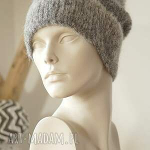 handmade czapki czapka alpakowa szara
