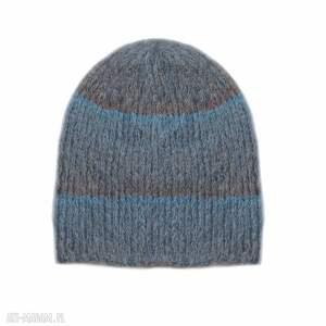 wyjątkowe czapki paski alpakowa czapka niebieska