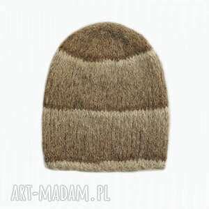 awangardowe czapki wełniana alpakowa czapka w brązach