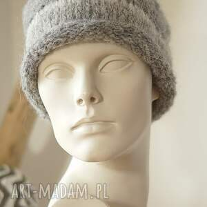 handmade czapki alpaka alpakowa czapka szara