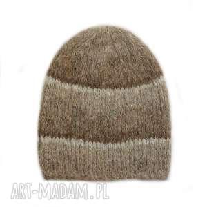czapki dziergana alpakowa czapka
