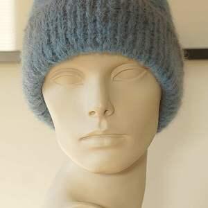 paski czapki alpakowa czapka niebieska