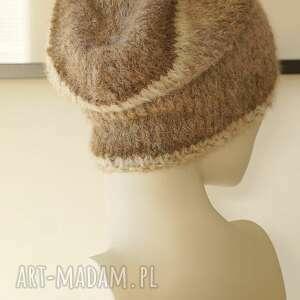 czapki wełniana alpakowa czapka w brązach
