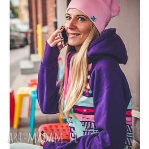 handmade czapki jesień baby pink long