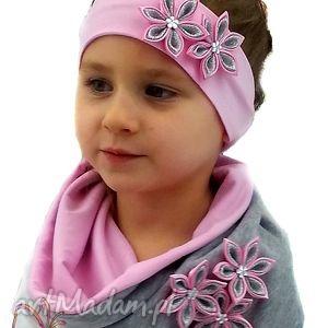 różowe czapki czapka cały komplet - z szalikiem