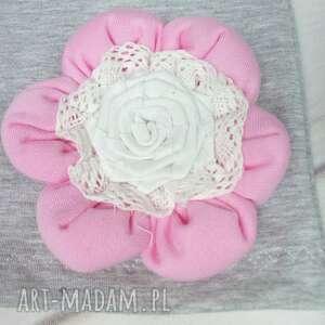 handmade czapki cienki komplet dla dziewczynki