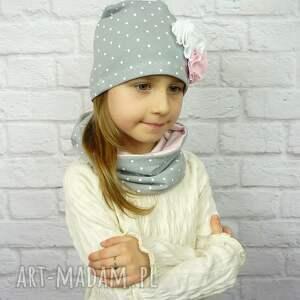 nietypowe czapki czapkakomin cienki komplet dla dziewczynki