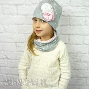 czapkakomin czapki różowe cienki komplet dla dziewczynki
