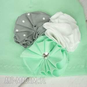 turkusowe czapki komin cienki komplet dla dziewczynki