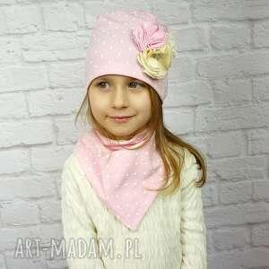 różowe czapki czapka cienki komplet dla dziewczynki
