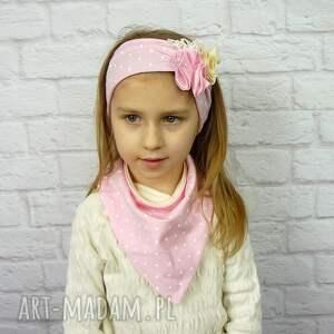 opaska czapki cienki komplet dla dziewczynki