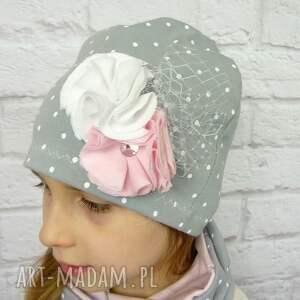 białe czapki opaska cienki komplet dla dziewczynki