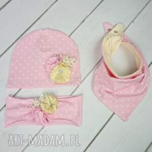 czapki opaska cienki komplet dla dziewczynki
