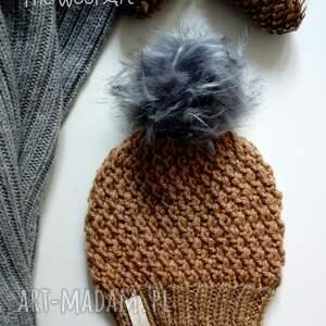 brązowe czapki czapka ciepła