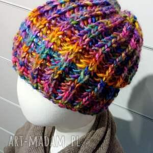 czapki czapka na drutach ciepła beanie