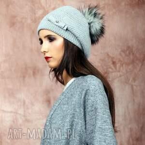 wełniana czapki ciepła czapka z futrzanym pomponem