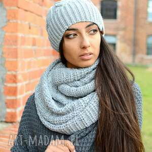 pleciony czapki ciepły, gruby, zimowy damski