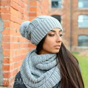 czapki pleciony ciepły, gruby, zimowy damski