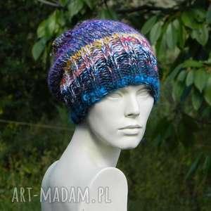 niebieskie czapki boho czapa mix multicolor