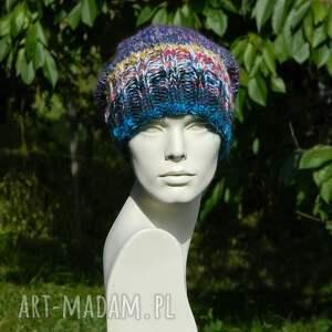 czapki dziergana czapa boho mix multicolor