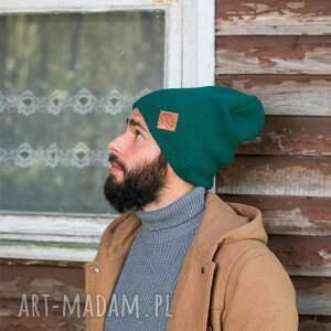 czapki czapka beanie czapa dwustronna logo z ekoskórki