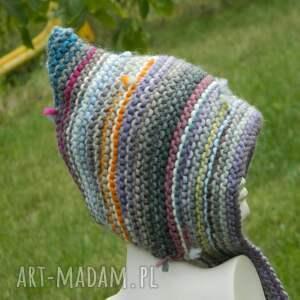 czapki kolorowa czapa etno elf 100% wełna