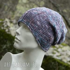 czapki melanżowa czapa fioletowy melan&#380