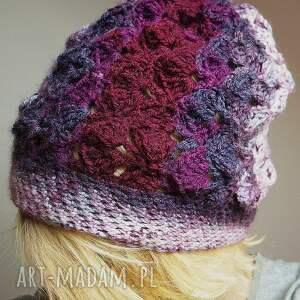 fioletowe czapki czapa jesienna śliweczka