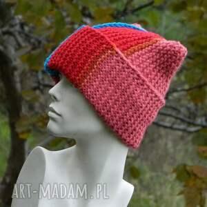 czerwone czapki alpaca czapa rogata wywijana