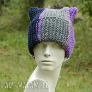 ciepła czapka na zimę czapki fioletowe czapa rogata alpaca wywijana