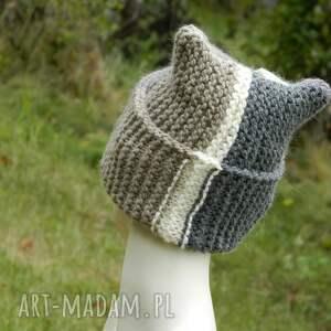 fioletowe czapki ciepła czapa rogata alpaca wywijana