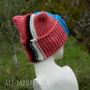 czapki ciepła czapa rogata alpaca wywijana