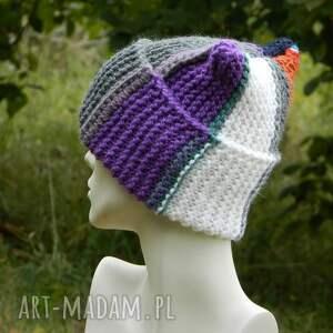 efektowne czapki ciepła czapka na zimę czapa rogata alpaca wywijana