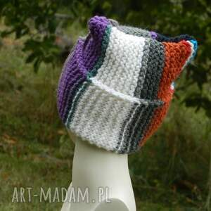 szare czapki wywijana czapka czapa rogata alpaca