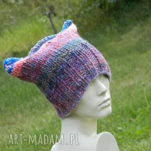 niebieskie czapki czapka rogata czapa rogaty melanż