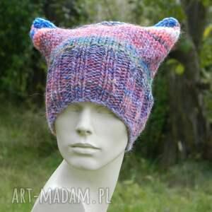 ręczne wykonanie czapki kolorowa czapka czapa rogaty melanż