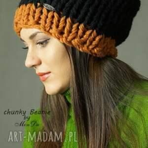 czapki czapka bezszwowa wykonana na drutach grubym