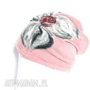 czapki etno czapka brudny róż wełniana handmade
