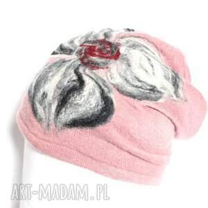 etno czapki czapka brudny róż wełniana handmade